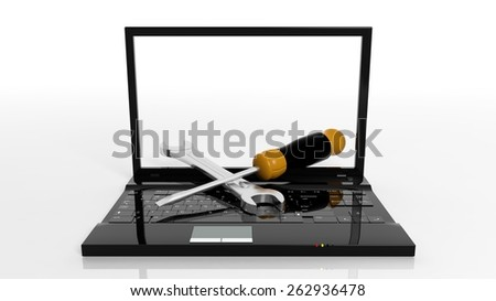 Screwdriver and wrench on laptop isolated on white background - stock photo