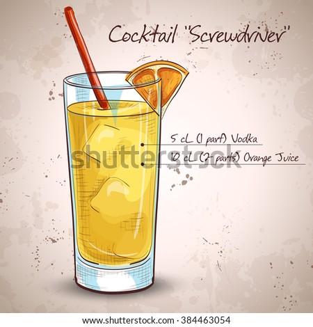 Screwdriver cocktail with Vodka, Orange juice, Ice cubes, Orange - stock photo