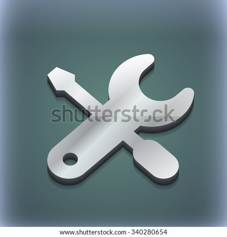 screwdriver, key, settings icon symbol. 3D style. Trendy, modern design with space for your text illustration. Raster version - stock photo