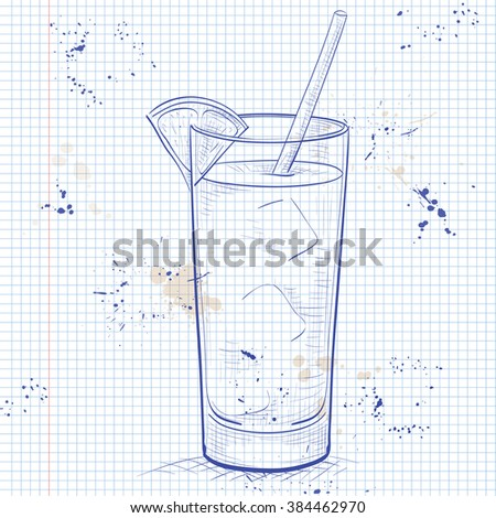 Screwdriver scetch cocktail with Vodka, Orange juice, Ice cubes, Orange on a notebook page