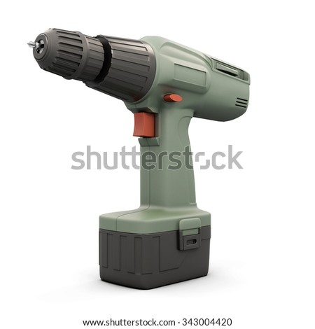 Screwdriver with battery isolated on white background. 3d illustration. - stock photo