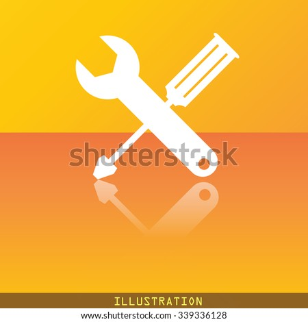 screwdriver with wrench icon symbol Flat modern web design with reflection and space for your text. illustration. Raster version - stock photo