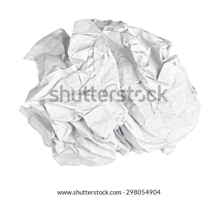 Screwed up ball of paper isolated - stock photo