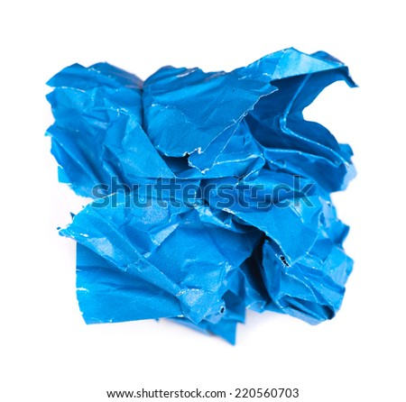Screwed up piece of blue paper isolated on white background