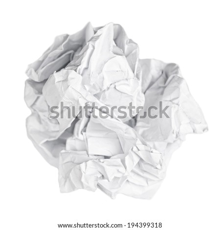Screwed up piece of paper isolated on white - stock photo