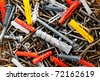 Screws and dowels in different kind and size - stock photo
