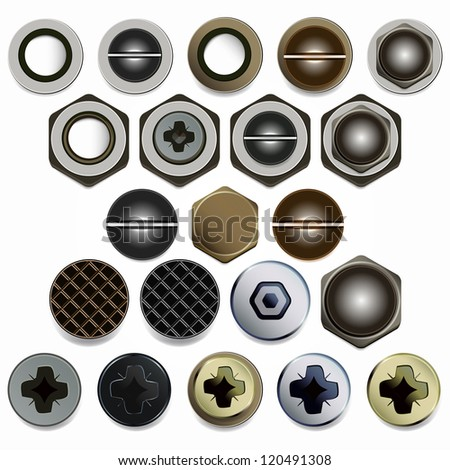 Screws, bolts and nuts heads set. Isolated on white background. - stock photo