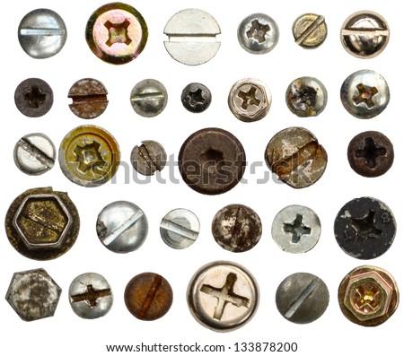 Screws head collection - stock photo