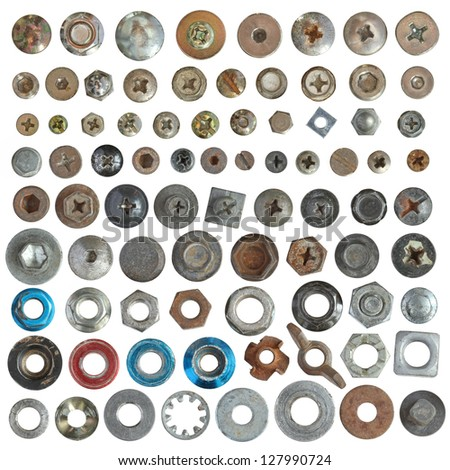 Screws head nut bolt and washer collection set - stock photo