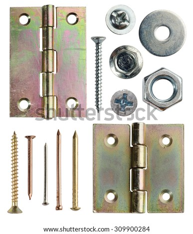 Screws, hinge and nails isolated on white - stock photo