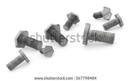 Screws isolated on white rendered