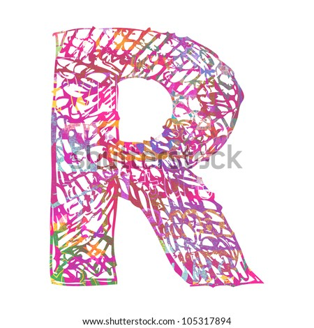 scribble ABC, childlike letter R isolated on white background - stock photo