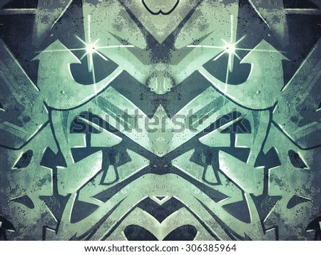 Scribble, geometric shapes painted on an old concrete wall - stock photo