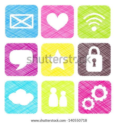 Scribble or sketch basic colorful icons illustration - stock photo