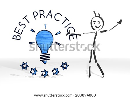 scribble stick man presents a best practice sign white background - stock photo