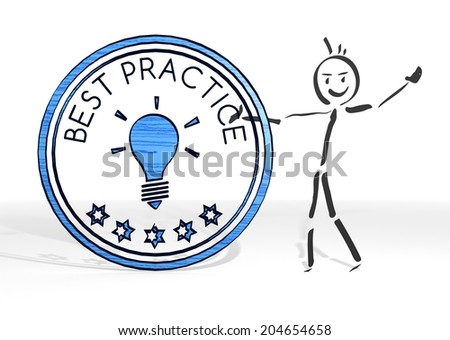 scribble stick man presents a best practice symbol white background - stock photo