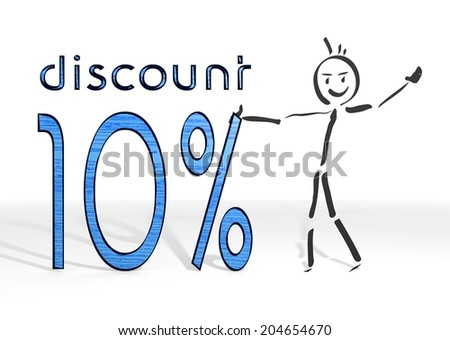 scribble stick man presents a discount white background - stock photo