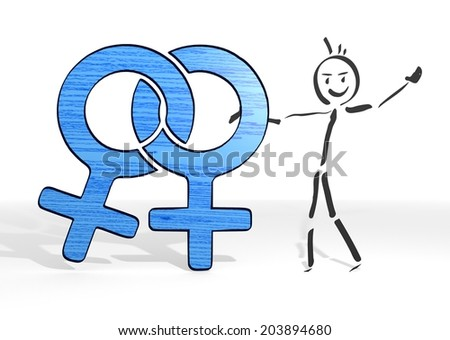 scribble stick man presents a homosexual sign white background - stock photo