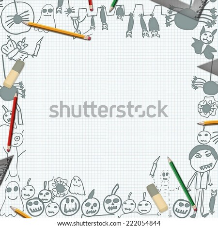 scribbles of halloween monsters on desk with pencils background frame - stock photo