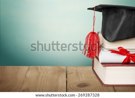 Scroll, graduation, roll. - stock photo