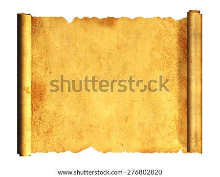 Scroll of old parchment. Object isolated on white background - stock photo