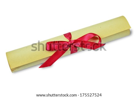 Scroll of old yellowed paper, bandaged a scarlet ribbon - stock photo