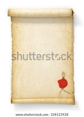 Scroll of old yellowed paper with a wax seal on a white background. - stock photo