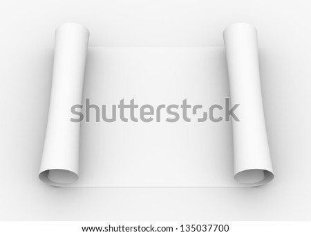 Scroll of white paper. Isolated render on a gray background - stock photo