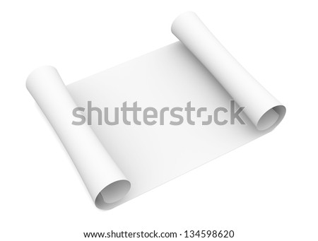 Scroll of white paper. Isolated render on a white background - stock photo