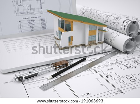 Scrolls architectural drawings and small house. architect concept