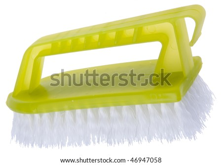 Scrubbing brush isolated on white with a clipping path perfect for spring cleaning!