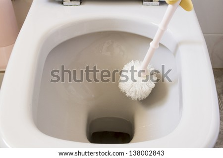 Scrubbing toilet bowl with a toilet brush