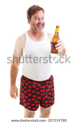 Scruffy middle aged man in his underwear offering you a bottle of beer.  Isolated on white.   - stock photo