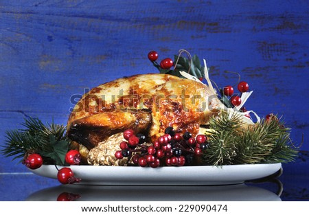 Scrumptious roast turkey chicken on platter with festive decorations for Thanksgiving or Christmas lunch, against dark blue rustic wood background. - stock photo