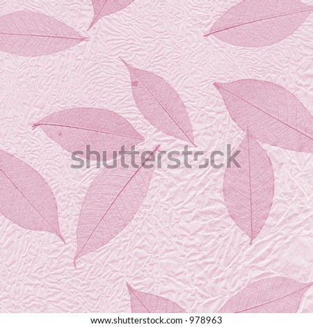 Scrunched paper and leaf skeleton design in pink.
