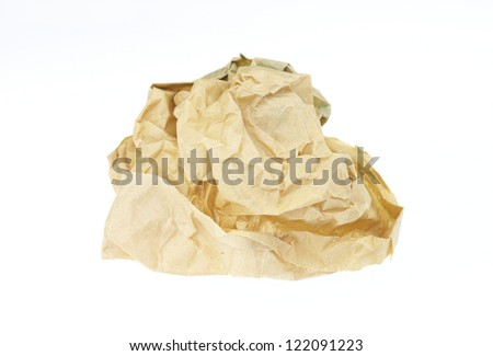 Scrunched Paper Bag on Isolated White Background