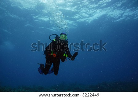SCUBA Diver above coral reef in midwater