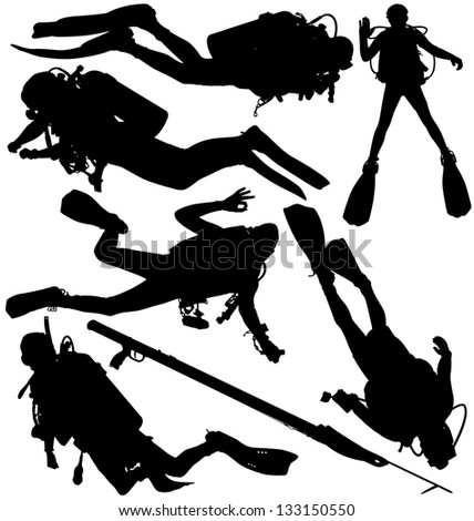 Scuba diver and speargun silhouettes. Raster version - stock photo