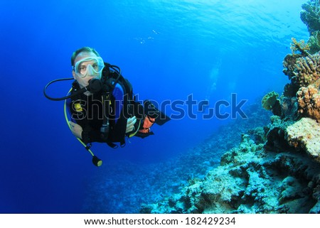 Scuba Diver in Ocean - stock photo