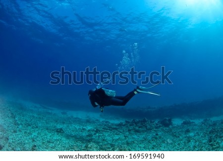 Scuba diver passing the coral reef as bubble rising.