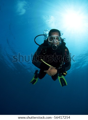 scuba diver portrait - stock photo