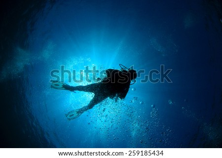 Scuba diver silhouette and sun - stock photo