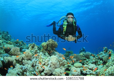 Scuba Diver swims over coral reef in the Red Sea - stock photo