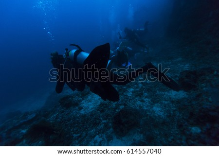 Scuba diver swims over tropical coral reef.