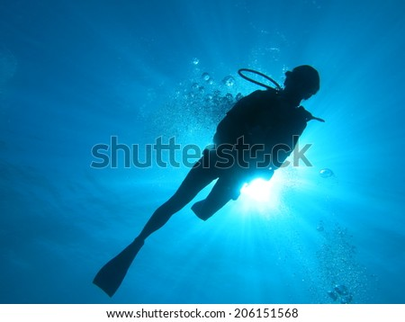 Scuba diver, Tahiti french Polynesia - stock photo