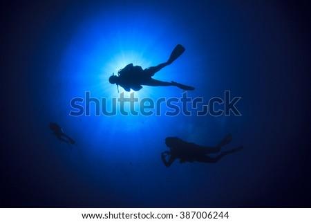 Scuba divers diving - stock photo
