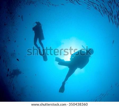Scuba divers diving in ocean silhouette  - stock photo
