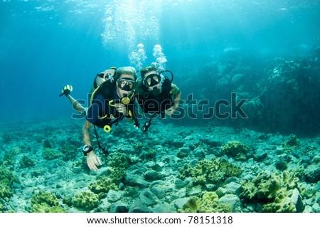 scuba divers enjoy a scuba dive - stock photo