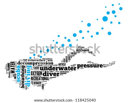 Scuba diving info-text graphics arrangement concept composed in diver shape on white background - stock photo