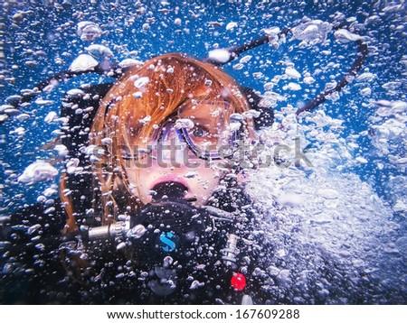 Scuba diving lessons - stock photo